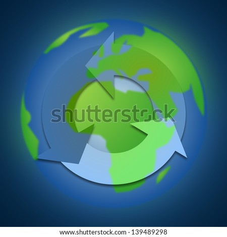 recycle icon on the earth, blue background