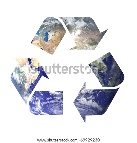 recycle icon symbol filled with space image of planet earth (courtesy NASA) isolated on white background - stock photo