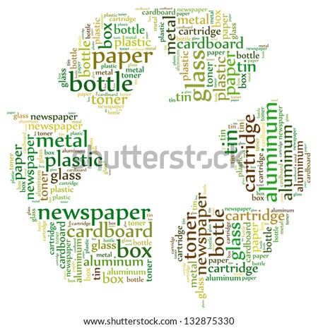 Recycle icon with describing text - stock photo
