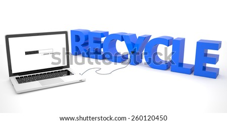 Recycle - laptop computer connected to a word on white background. 3d render illustration. - stock photo