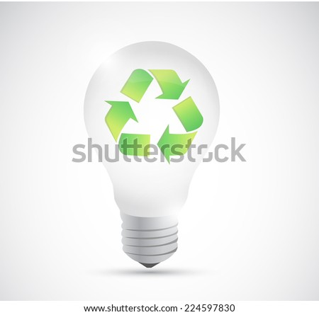 recycle light bulb illustration design over a white background
