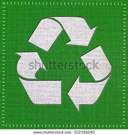 Recycle Logo From fabric textile. - stock photo