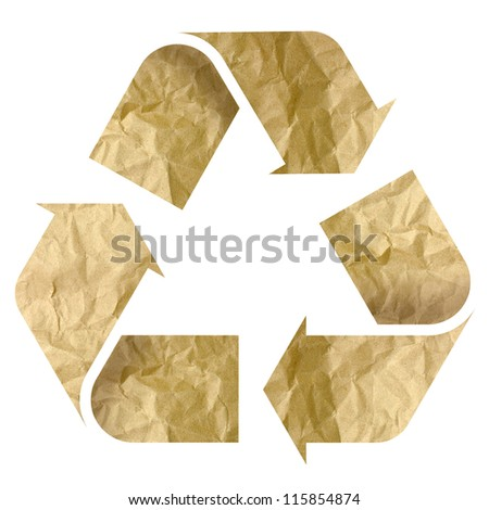 Recycle Logo From Recycle Paper with Clipping Path - stock photo
