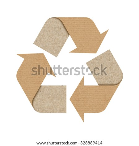 Recycle logo isolated made of cardboard with Clipping Path included. - stock photo