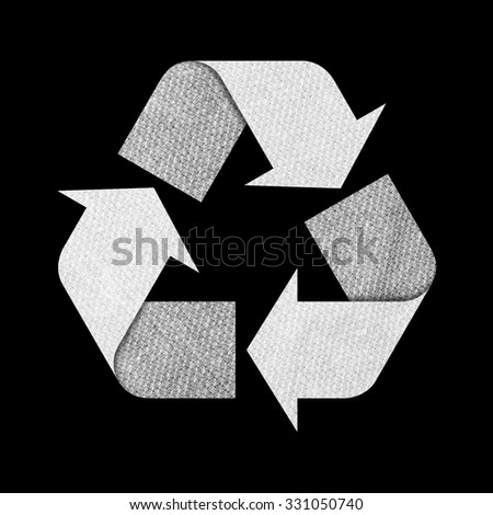 Recycle logo isolated made of fabric or cloth with Clipping Path included. - stock photo