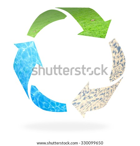 Recycle logo isolated made of grass, water and sand texture. Recycle icon: Saving world environmental concept. Ecology, Biology concept. - stock photo