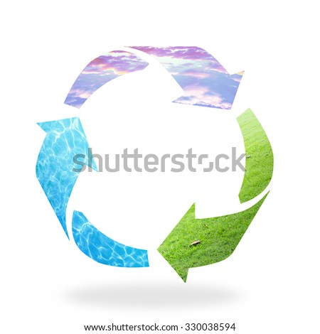 Recycle logo isolated made of sunset sky, water and grass texture. Recycle icon: Saving world environmental concept. Ecology, Biology, World Water Day, Earth Hour concept. - stock photo