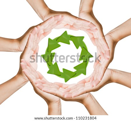 Recycle logo on hand women
