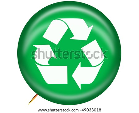 Recycle logo pin - stock photo