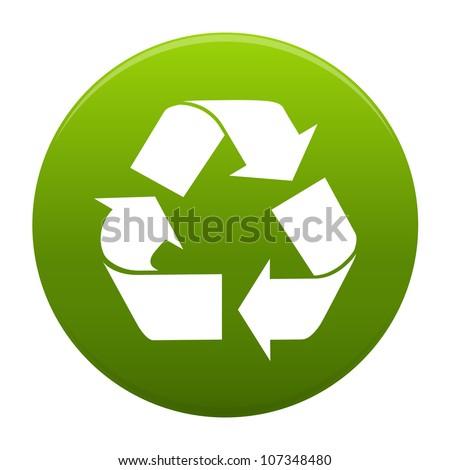 Recycle logo symbol inside a green circle isolated on white background. Stylized icon - stock photo