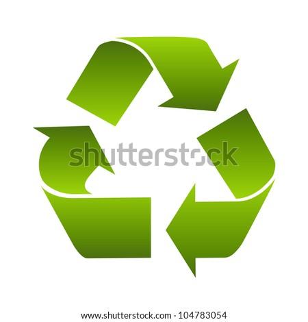 Recycle logo symbol isolated on white background. Stylized icon - stock photo