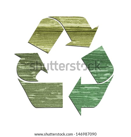 Recycle Logo Symbol Isolated on White with Old Wood Texture - stock photo