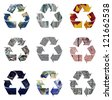 Recycle logo symbols isolated on white. Elements of the image supplied by NASA - stock vector