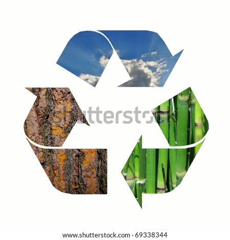 Recycle logo with bamboo, bark and the sky - stock photo
