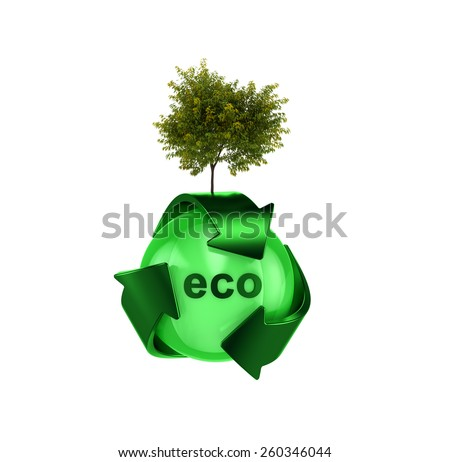 Recycle logo with tree - stock photo