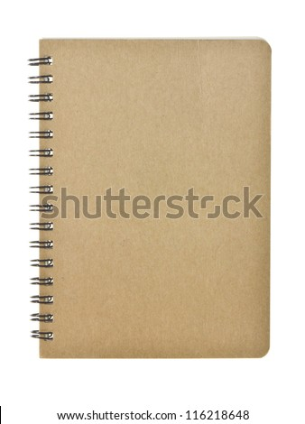 Recycle notebook isolated on white background, brown cover - stock photo