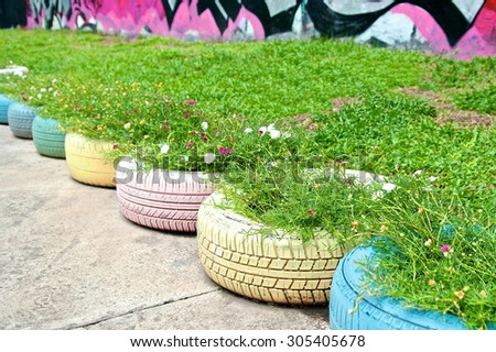 Recycle of tyre used in public park. Flowers and plant in old tire painted pastel color in garden. Recycled rubber design with folk wisdom. DIY product. Close up. - stock photo