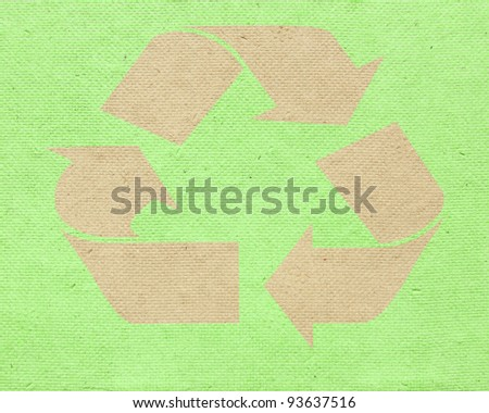 Recycle on paper block texture background