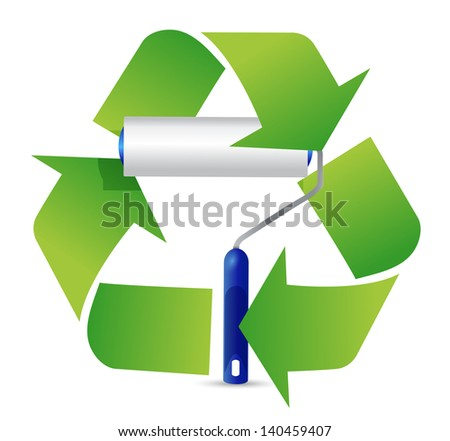 recycle paint roller illustration design over a white background