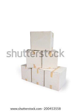 Recycle paper carton box pile  stacking for reuse again fo earth saving isolated on white back ground. - stock photo
