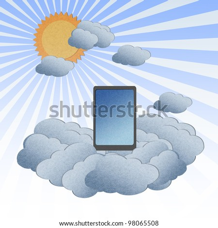 Recycle paper ,Cloud computing concept with Tablet in the clouds. - stock photo