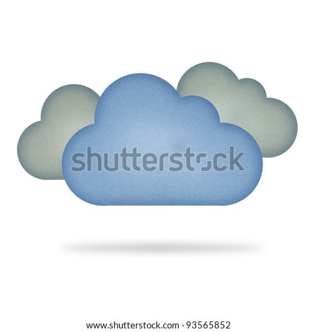 Recycle paper cloud , isolated on white - stock photo
