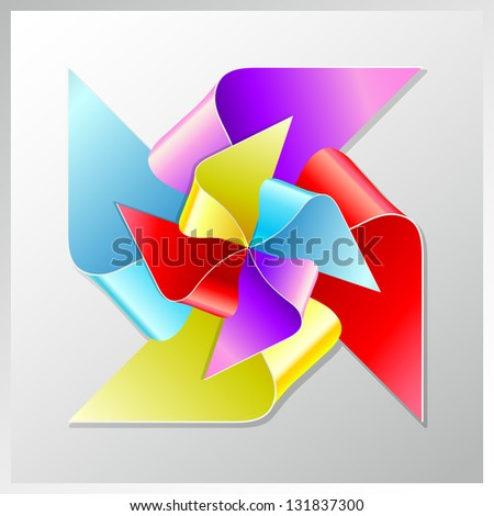 recycle paper colorful windmill, raster version - stock photo