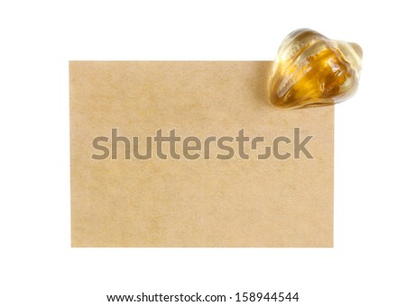 recycle paper note with paperweight on white, included clipping path - stock photo