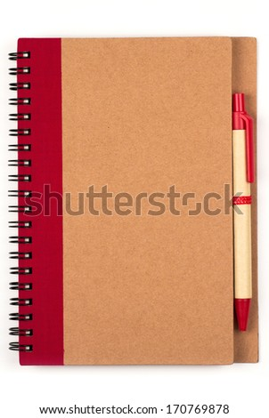 Recycle paper notebook and pen - stock photo