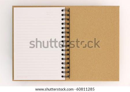 Recycle paper notebook last page on white background