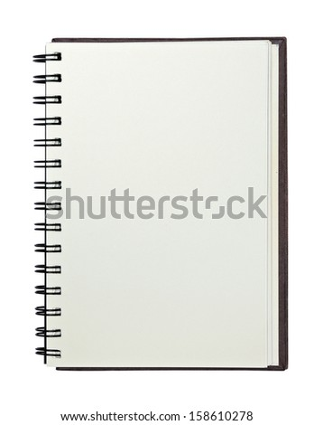 recycle paper notebook right page with clipping path - stock photo