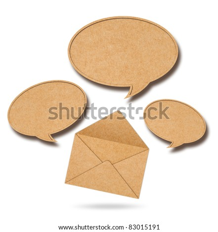 Recycle Paper speech bubbles out from Envelope - stock photo
