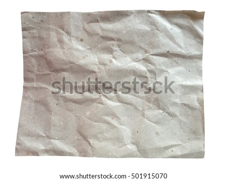 Recycle paper texture isolated on white with clipping path