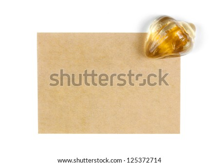 recycle paper with glass shell on white background - stock photo