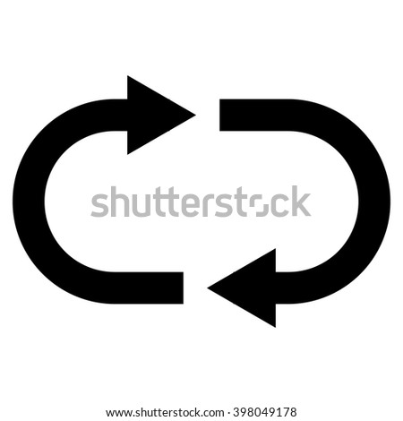 Recycle raster icon. Style is flat icon symbol, black color, white background. - stock photo