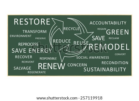Recycle Reuse Reduce Arrows Circular with text Green Renew, Save Energy, Accountability, Regenerate Environment Sustainability Transform Remodel chalkboard isolated on white background - stock photo