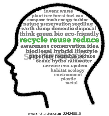 Recycle reuse reduce in words cloud - stock photo