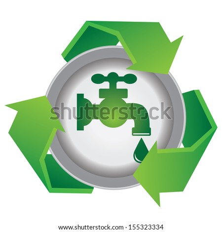 Recycle, Save The Earth or Stop Global Warming Concept Present By Green Recycle Sign With  Tap Water and Water Drop Icon Inside Isolated on White Background  - stock photo