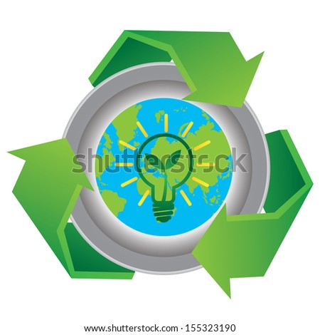 Recycle, Save The Earth or Stop Global Warming Concept Present By Green Recycle Sign With The Earth and Green Light Bulb Sign Inside Isolated on White Background  - stock photo