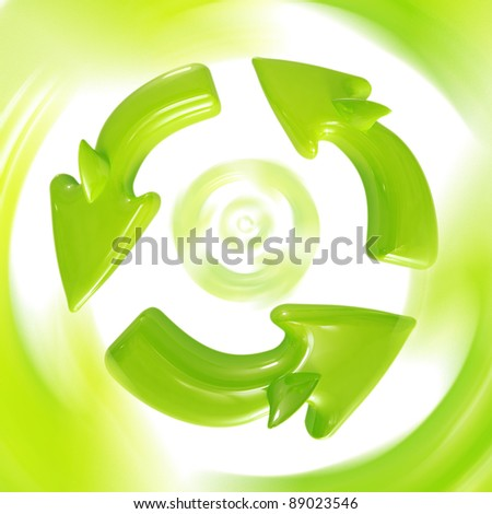 Recycle sign in motion