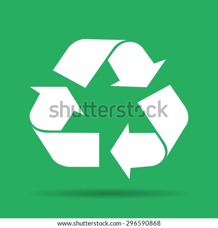 Recycle sign in white color - isolated.  - stock photo