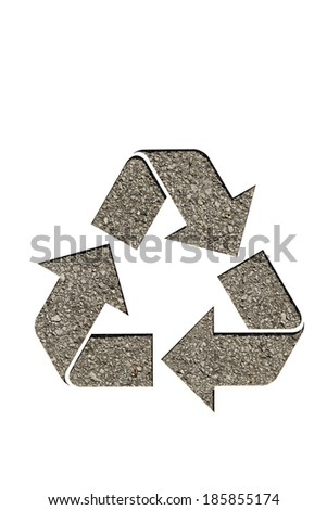 recycle sign on asphalt - stock photo