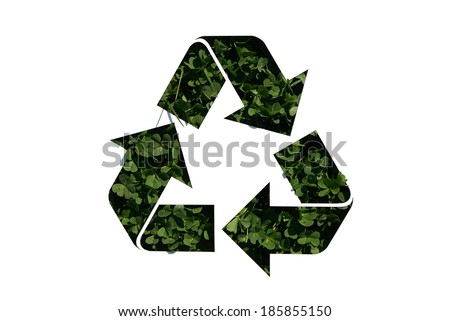 recycle sign on clover - stock photo