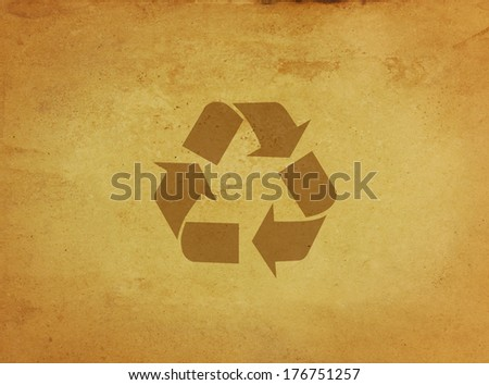Recycle sign on grunge paper