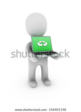 recycle sign on screen laptop - stock photo