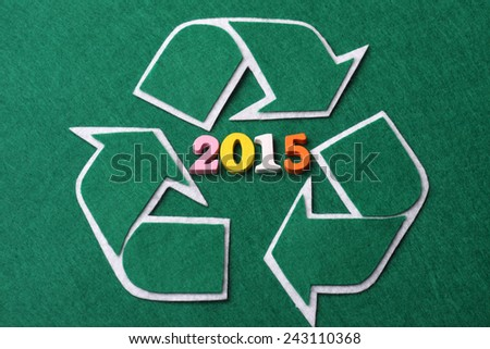 RECYCLE sign with number 2015 concept - stock photo
