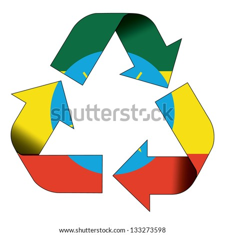 Recycle symbol flag of Ethiopia