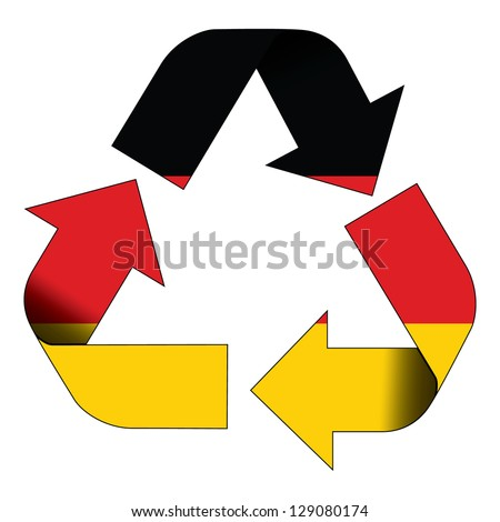 Recycle symbol flag of Germany - stock photo