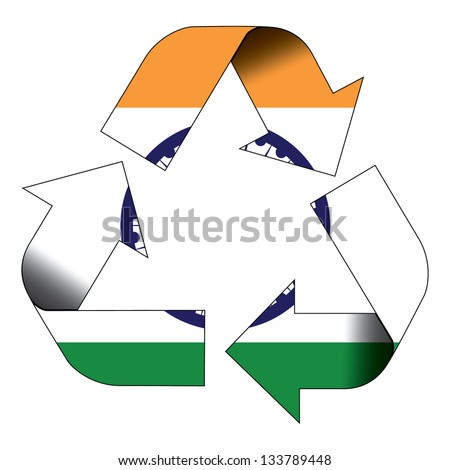 Recycle symbol flag of India - stock photo
