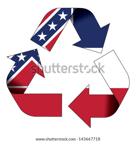 Recycle symbol flag of Mississippi - stock photo